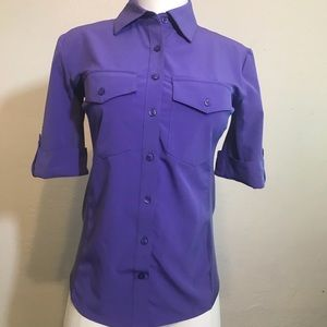 lucy women's 3/4 sleeve button down XS
